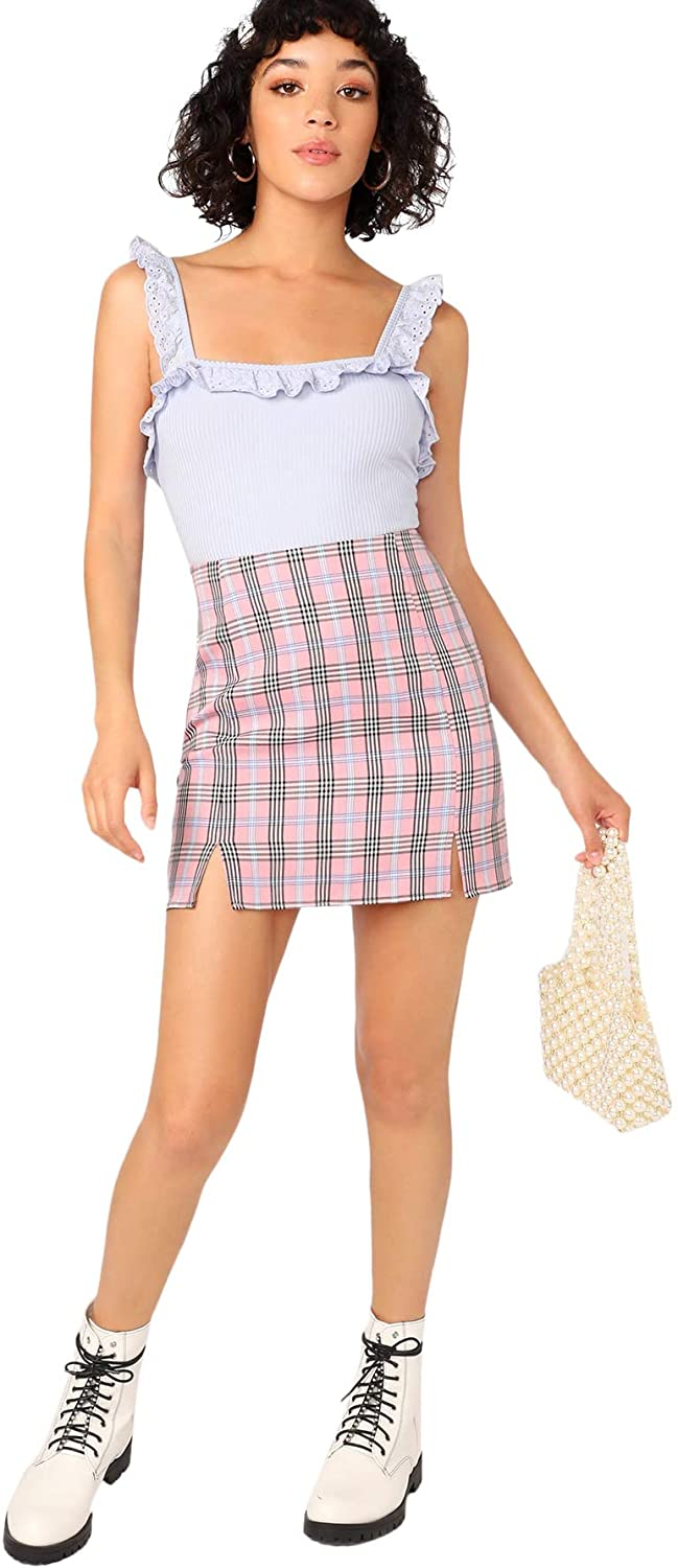 90s Clothing Outfits You Can Buy Now WDIRARA Womens Plaid Skirt High Waist Split Front Zip Up Mini Bodycon Skirt  AT vintagedancer.com