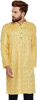 Sojanya Men's Cotton Linen Printed Kurta XX-Large Yellow