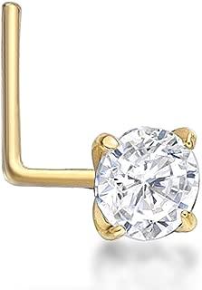 Lavari - 14K Gold 3mm White Cubic Zirconium Nose Ring L-Shape 22G