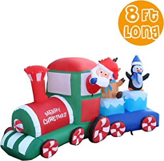 RETRO JUMP 8 Ft Long Christmas Inflatable Santa Claus on Train with Reindeer & Penguin, Xmas Blow up Lighted Indoor Outdoor Yard Garden Family Prop Decoration