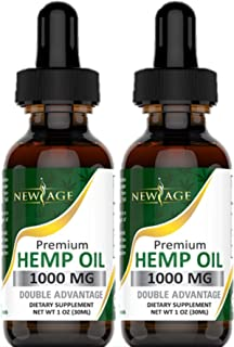 Hemp Oil Extract for Pain & Stress Relief - 2 Pack - 1000mg of Organic Hemp Extract - Grown & Made in USA - 100% Natural H...