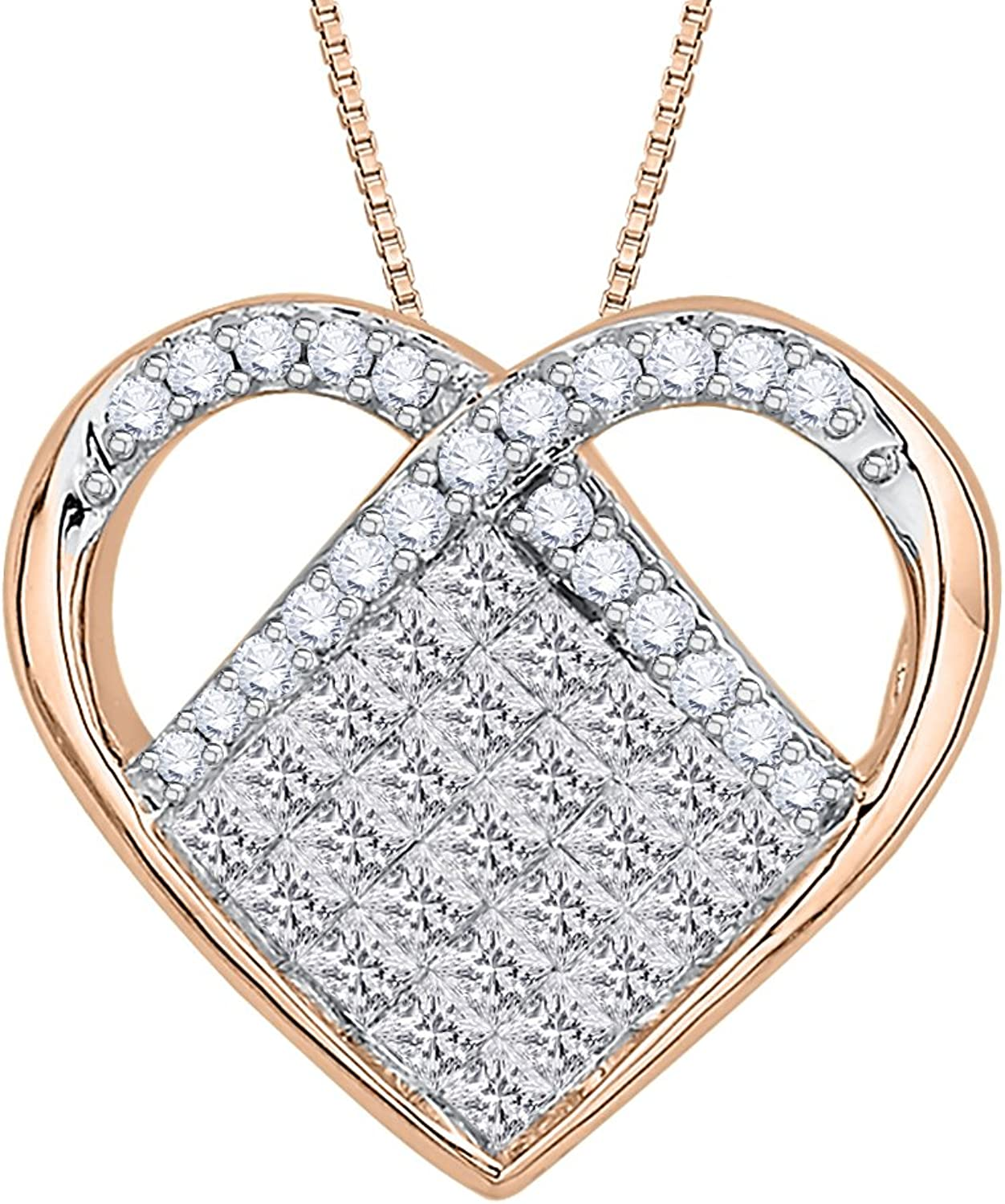 Princess and Round Cut Diamond Heart Pendant with Chain in gold (1 cttw)