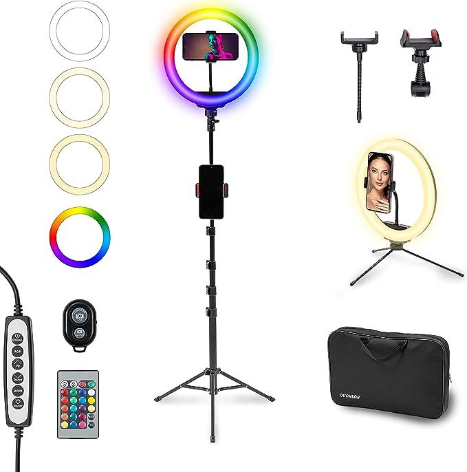 37 opinioni per BUONSON Set Professionale Ring Light LED 26cm con 15 Colori RGB Luce ad Anello