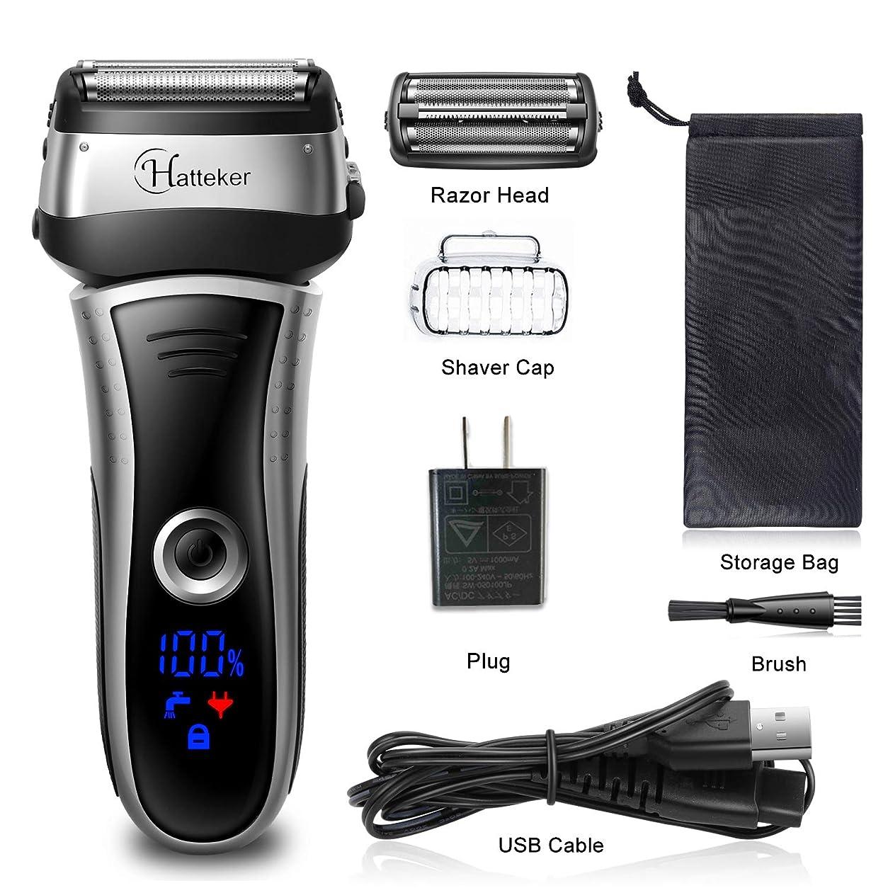 事業意気揚々ハンディHATTEKER メンズシェーバー ひげそり 電動髭剃り 往復式シェーバー 3枚刃 USB充電式 LEDディスプレイ お風呂剃り & 丸洗可 替刃付きブラック