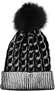 Aibearty Metallic Knitted Beanie Hat Cable Knit Slouchy Skull Hats Women's Warm Cap Pompom