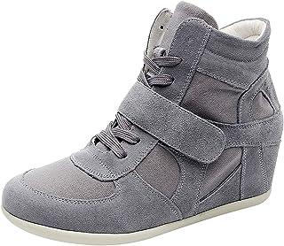 rismart Donna Zeppa in Cima Cuneo Lavoro Informale Lacci Fibbia Sneaker Scarpe