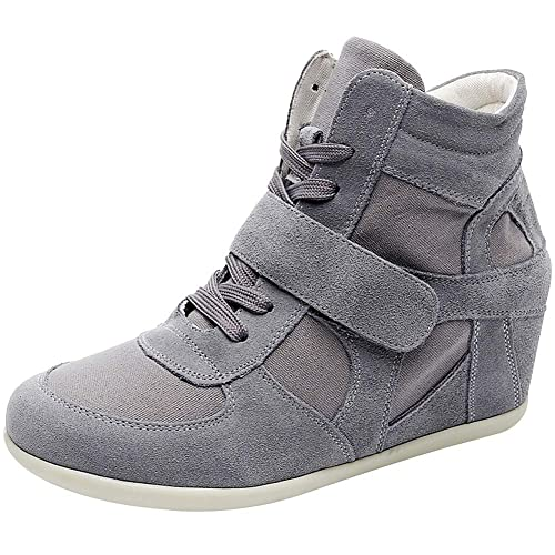 e21b405b2c8 rismart Women s Wedge Casual Hook Loop Fabric Suede Leather Fashion Sneakers