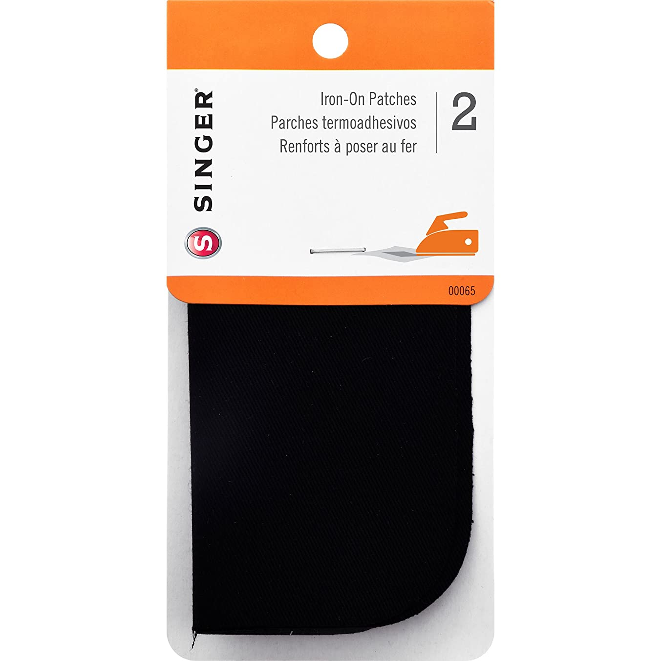 SINGER 00065 Iron-On Patches for Clothing Repair, 5-inch by 5-inch, 2-Count, Black