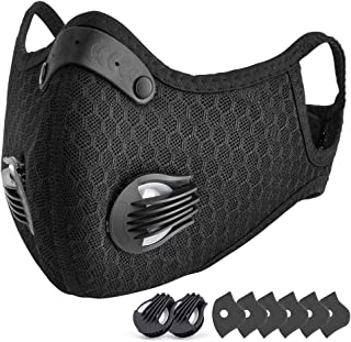 CCJK スポーツマスク トレーニング用 マスク 洗える 自転車用マスク フェイスマスク スポーツ 低酸素 肺活量 6個フィルター付き 左右バルブ付き 男女兼用 ブラック