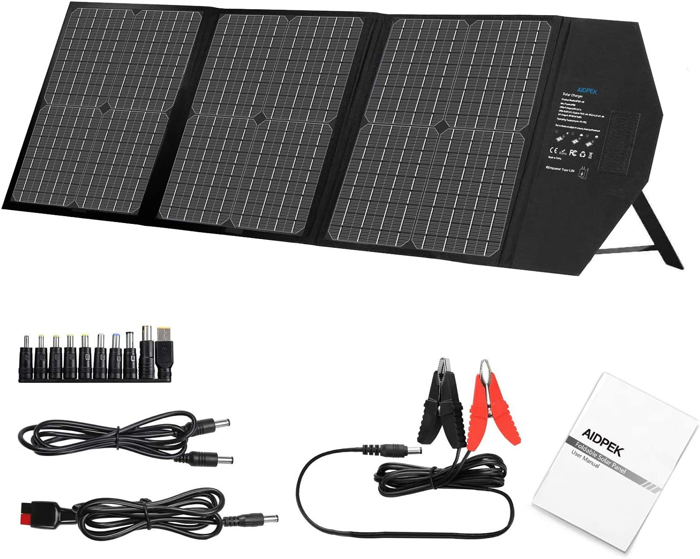 AIDPEK 60W Foldable Solar National uniform free shipping online shopping Panel Ch Kickstand with Portable