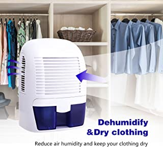 Binxin 1500ml Electric Dehumidifier Portable Air Dehumidifier Ultra Quiet Thermo-Electric Dehumidifiers for Home, Kitchen, Bedroom, Closet, Basement (White)