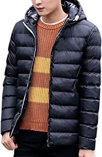 WISREMT Men's Winter Hooded Lightweight Down Puffer Jacket Warm Parka Outwear Casual Coat