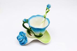 Keramik Rose Flower Tassen Teetasse Teetasse Tee-Untertasse