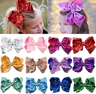 Sequin Bow Baby Girls 8in Large Glitter Party Favors 12pcs Sparkling Big Hair Bows Alligator Hair Clips for Girls Baby Toddlers Children