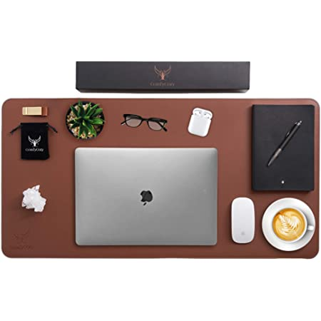ComfyCozy Leather Desk Pad and Pen Holder | Large Gaming Laptop PC Computer Non Slip Mouse Mat for Desks | Luxury Leather Gift | Keyboard Office Mousepad Accessories Protector Mats Gifts | 80 * 40cm