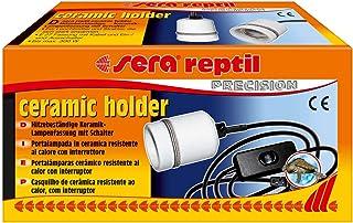sera Soporte de cerámica 32012 con casquillo de cerámica E27 con cable e interruptor para instalaciones de terrario (adecuado hasta 300 W), para uso con bombillas y calefactores altamente calientes.