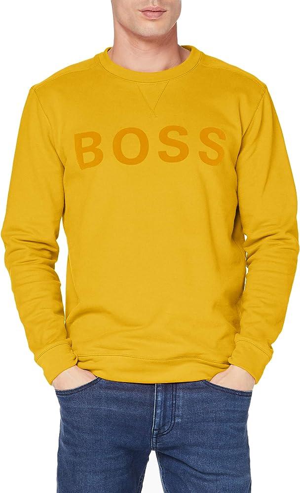 Hugo boss,felpa per uomo, in misto cotone con logo in stampa flock 50457944