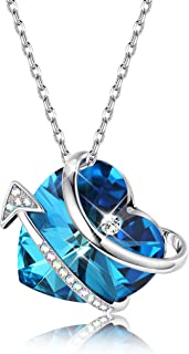 Blue Heart & Arrow Pendant Necklace for Women Crystal Necklace for Anniversary Gifting, Crystals from Swarovski