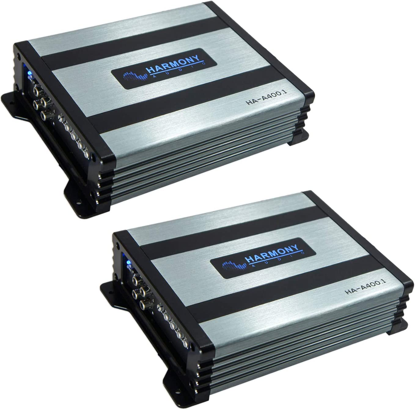 Harmony Audio (2) HA-A400.1 Car Stereo Class D Amp Mono 800 Watt Subwoofer Amplifier - 1 Ohm Stable - Includes Bass Remote