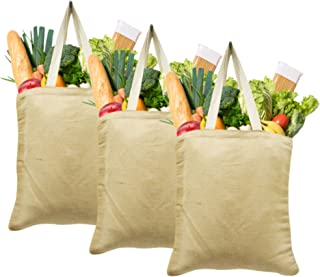 Ecofriendly Shopper Bags Natural Jute & Cotton Blended Reusable Grocery Totes from Earthbags (Pack of 3)