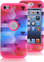 iPod Touch 6 Case, iPod Touch 5 Case, KAMII [Colorful Series] 3in1 Shockproof Full-Body Protective Hard PC+Soft Silicone Hybrid Hard Case Cover for Apple iPod Touch 5 6th Generation (Rose)