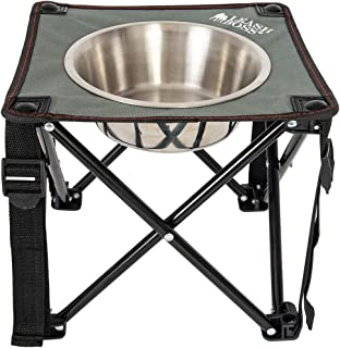 """Leashboss Camping Feeder Single Outdoor Elevated Dog Bowl, 10.5"""" Travel Raised Dog Feeder for Medium and Large Dogs, Includes 2 Quart Stainless Steel Bowl"""