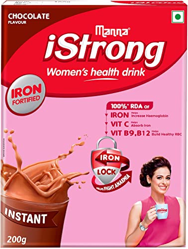 Manna iStrong 200g Iron Fortified Women s Health Drink Mix Chocolate Iron Supplement Iron Lock Formula with Vit C B9 B12 Improves Haemoglobin Fights Anemia Natural Multigrain Energy Drink