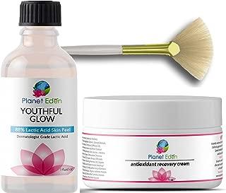 Intense Repair 88% Lactic Acid Skin Peel Kit with Antioxidant Repair Cream and Fan Brush - Unbuffered Professional Grade