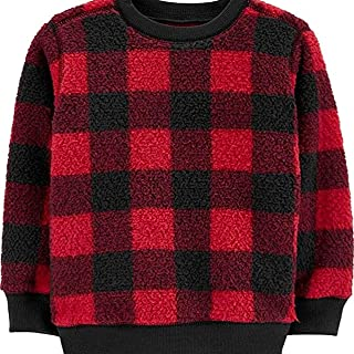 Carter's Buffalo Check Sherpa Pullover Sweatshirt, 4T Red