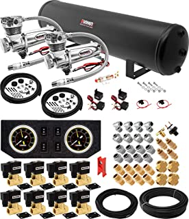Vixen Air Suspension Kit for Truck/Car Bag/Air Ride/Spring. On Board System- Dual 200psi Compressor, 5 Gallon Tank. for Boat Lift,Towing,Lowering,Load Leveling,Onboard Train Horn VXX1209GB/4852DC