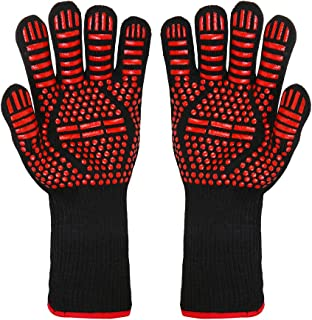 BBQ Grill Gloves, 1472°F Extreme Heat Resistant Non-slip Silicone Insulated Oven Mitts for Outdoor Cooking, Grilling Potholder, Kitchen, Smoker Baking, Barbecue, Fireplace, Frying, Cutting, 1 Pair-Red