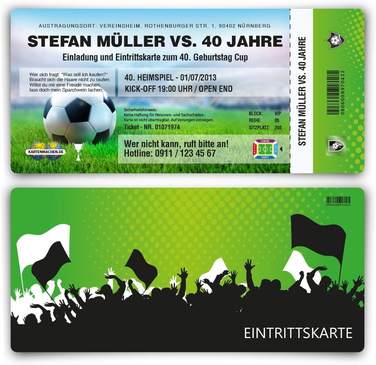 2 x Abriss Fussball Ticket Einladungskarten zum Geburtstag als Eintrittskarte