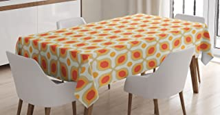 Ambesonne Geometric Tablecloth, Linked Bold Geometric Shapes 70s Vintage Minimalist Pattern Bohemian Design, Rectangular Table Cover for Dining Room Kitchen Decor, 60