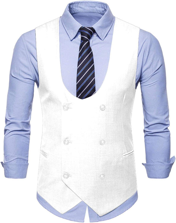 MllesReve Men's Slim Fit Waistcoat Double Breasted Suit Vest