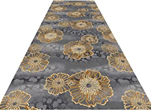 Long Runner Rug Hall Carpet, 3D Floral Pattern Floor Protector Dirt Trapper Soft Superfine Fiber Pile 0.6Cm Entrance Pad E...