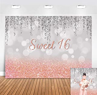 Bokeh Rose Gold Sweet 16 Birthday Photography Backdrop for Pictures Princess Girls Happy Bbday Party Banner Supplies Photo Backgrounds Cake Table Vinyl 5x3ft Photo Booth Decorations