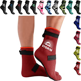 BPS Low Cut 'Soft Skin' Water Socks or High Cut 'Storm' Water Socks (3mm Neoprene Glued & Blind-Stitched with Fit Adjustment Straps) - Perfect for Water, Sand, Beach Activities, and Also for Diving