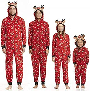 Pijama de Navidad para familias, mono de ciervo, de manga larga con capucha, conjunto de ropa de Navidad, para mamá, papá, niños, ropa de noche para fiestas de Navidad