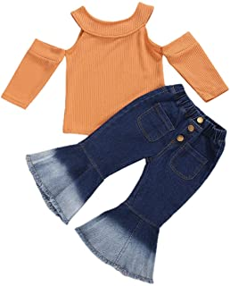 Toddler Baby Girl Fall Clothes Long Sleeve Solid Off-Shoulder Knitted Top Shirt+Denim Flared Pants Jeans 2PCS Outfit Set