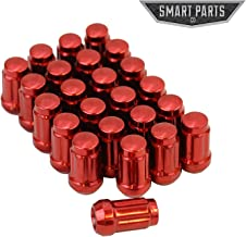 Smart Parts 24 Qty 12x1.25 Red Closed End Spline Drive Acorn Lug Nuts with Key 1.4