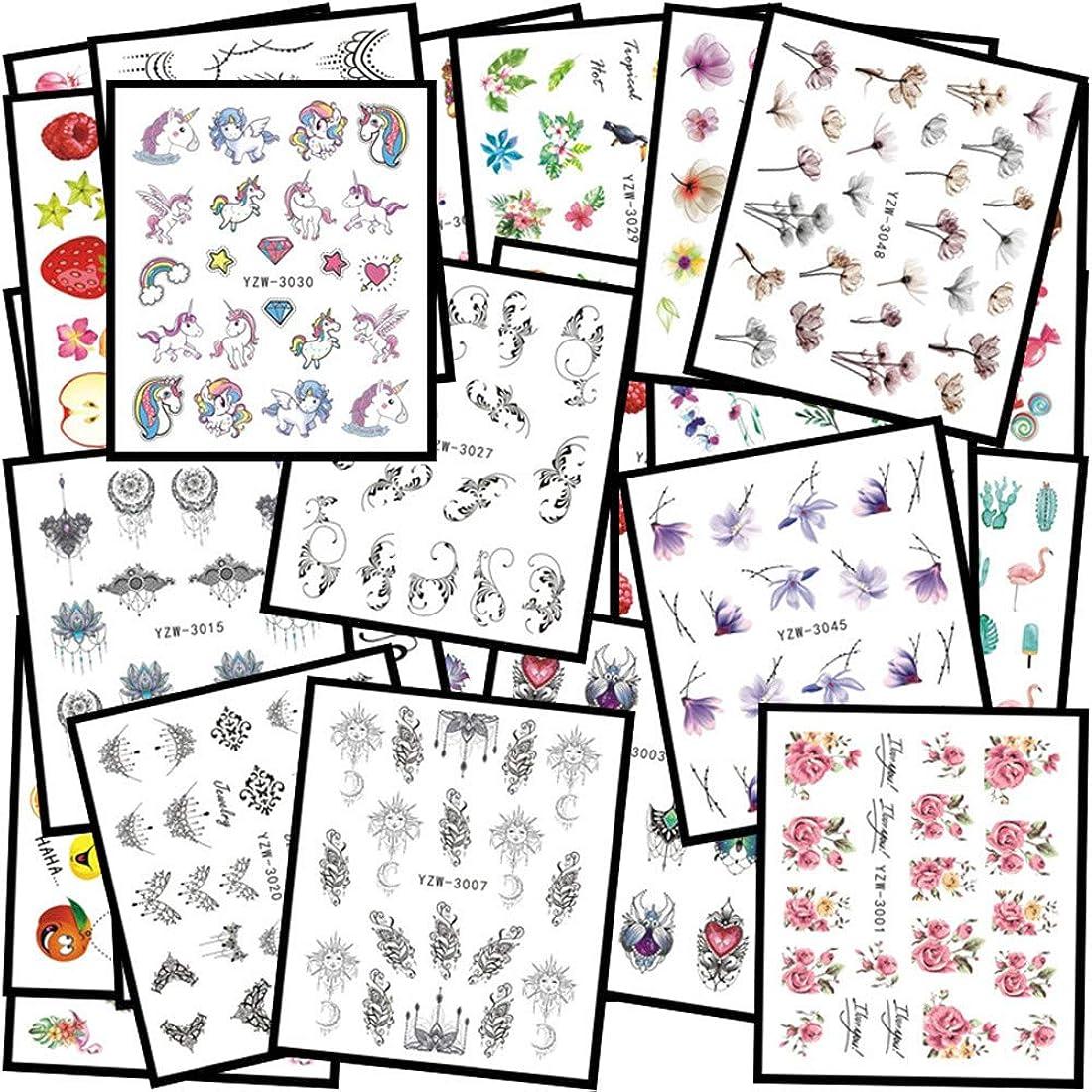 ペックミットに渡ってKingsie ネイルシール 48枚セット ウオーターシール 花 キャラクター ユニコーン フラミンゴ 果物 ネイルステッカー マニキュア ネイルアート デコレーション