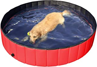Yaheetech Foldable Pet Bath Pool Collapsible Large Dog Pet Pool Bathing Swimming Tub Kiddie Pool for Large Dogs Cats and Kids, Blue/Red
