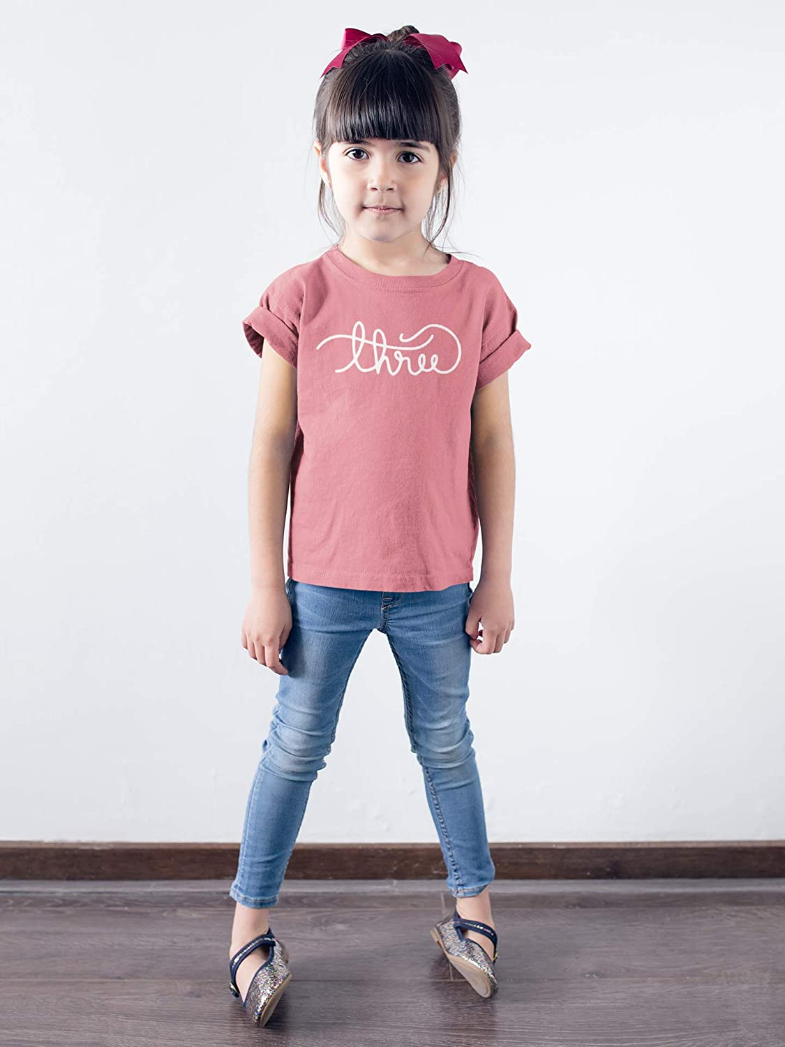 Olive Loves Apple Girls Cursive Three Shirt for Toddler Girls 3rd Birthday Outfit