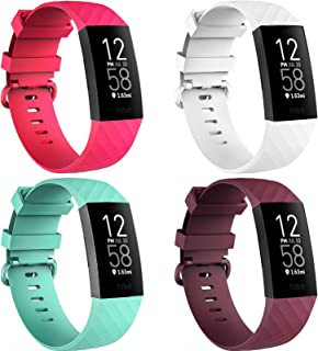 4 Pack Bands for Fitbit Charge 3/ Fitbit Charge 4/ Charge3 SE, Soft Waterproof Replacement Wristbands for Women Men Small ...