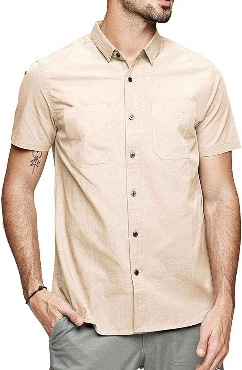 LecGee Mens Plaid Long Sleeve Shirts Button-Down Casual Flannel Shirts Regular Fit with Two Pockets