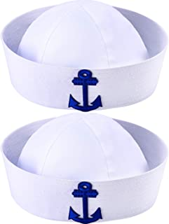 2 Packs White Sailor Hat Nautical Hats Adults Yacht Captain Costume Hats, for Men and Women, Great Family Cruise Accessory Yacht Hats for Dress Up Party