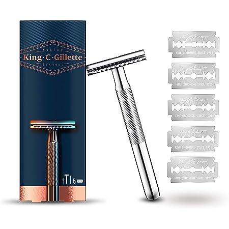 King C. Gillette Máquina de Afeitar de Doble Filo Hombre + 5 Cuchillas de Recambio, Regalos Originales para Hombre