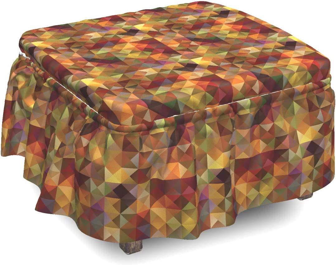 Ambesonne Colorful Very popular! Ottoman Cover Grid Mosaic Geometric Piece 2 Quality inspection