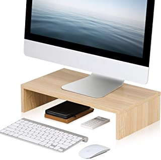 FITUEYES Computer Monitor Riser Wood Color PC/Laptop/TV Stand Save Space Desktop Orgaznier for Home Office Use DT104201WO