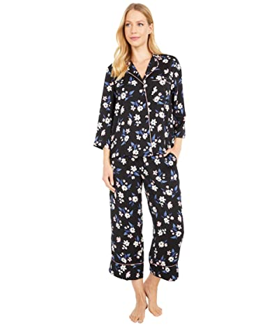 Kate Spade New York Charmeuse Notch Collar Cropped PJ Set (Bouquet) Women